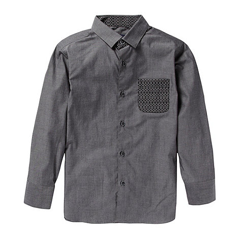 bluezoo - Boy's grey geo trim smart shirt