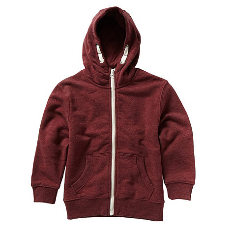 bluezoo - Boy+s dark red zip through sweat hoodie