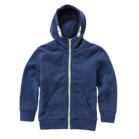 bluezoo - Boy+s navy zip through sweat hoodie