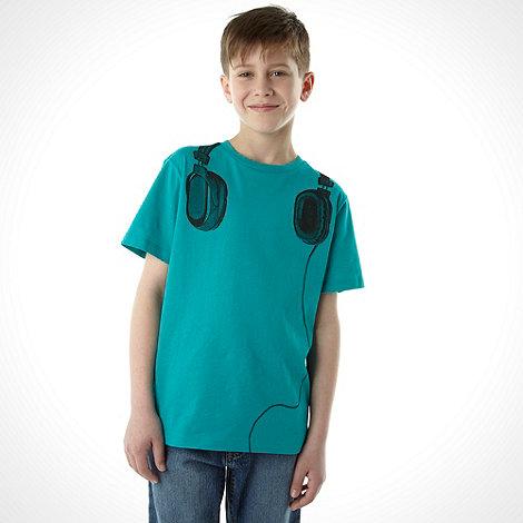 bluezoo - Boy+s blue headphone printed tee