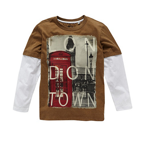 bluezoo - Boy+s brown dual sleeve +London+ top