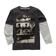 Boy's near black dual sleeve 'VIVA CUBA' top