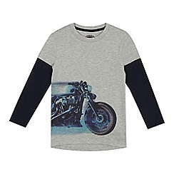 bluezoo - Boys' grey motorbike print mock t-shirt