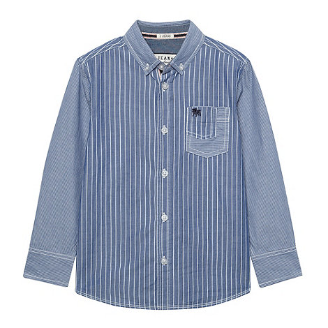 J by Jasper Conran - Boy+s blue long sleeved striped shirt