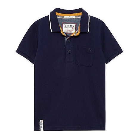 J by Jasper Conran - Boy+s blue contrast trim polo top