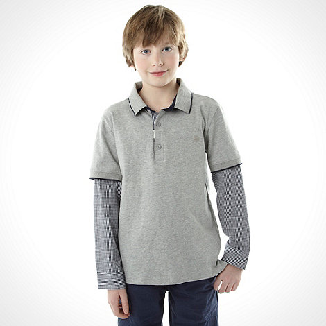 J by Jasper Conran - Boy+s grey mock sleeved polo top