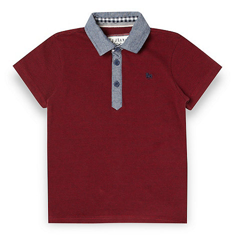 J by Jasper Conran - Designer boy+s dark red woven polo shirt