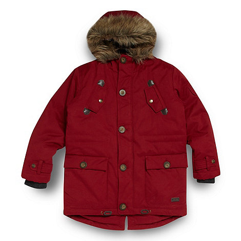 J by Jasper Conran - Designer boy+s red faux fur trim coat
