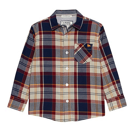 J by Jasper Conran - Boy+s blue long sleeved checked shirt