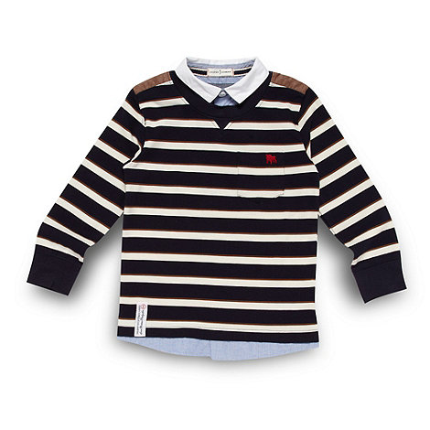 J by Jasper Conran - Boy+s navy striped mockable jumper