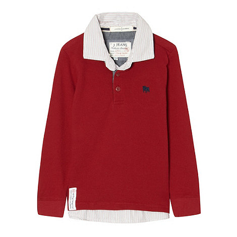 J by Jasper Conran - Boy+s red long sleeved mock polo top