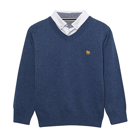 J by Jasper Conran - Boy+s blue oxford trim mock jumper