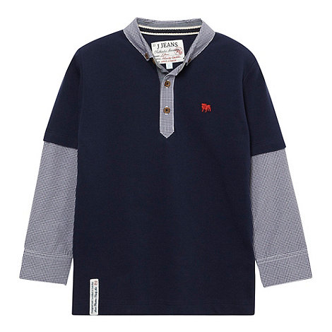 J by Jasper Conran - Designer boy+s navy mock gingham sleeve polo shirt