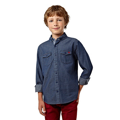 J by Jasper Conran - Boy+s blue long sleeved denim dobby shirt