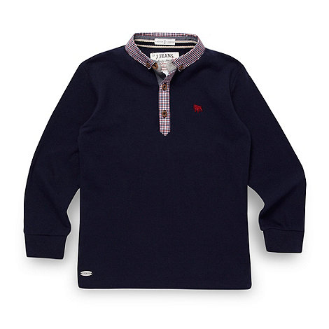 J by Jasper Conran - Designer boy+s navy gingham collar polo top