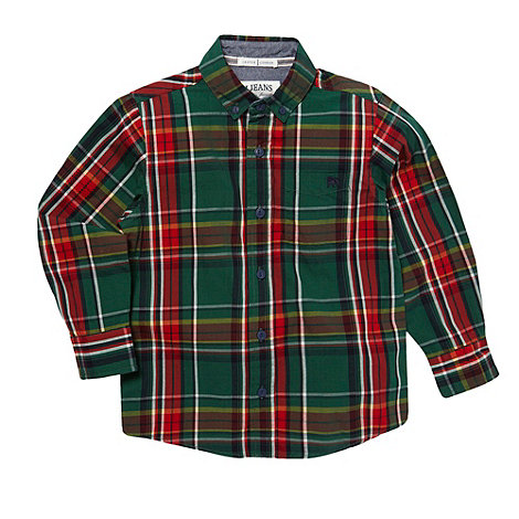 J by Jasper Conran - Boy+s green large checked shirt