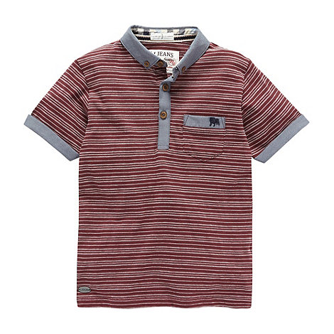 J by Jasper Conran - Designer boy+s wine textured stripe polo shirt