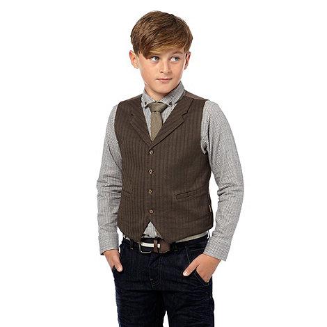 J by Jasper Conran - Boy+s brown tweed waistcoat set