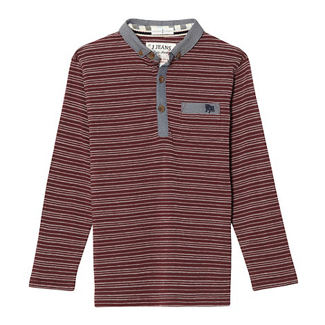 J by Jasper Conran - Designer boy's wine textured striped polo shirt