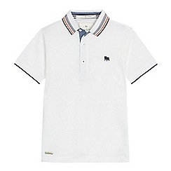 J by Jasper Conran - Boys' white textured striped polo shirt