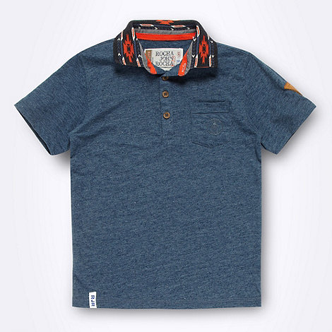 RJR.John Rocha - Designer boy+s blue aztec collar polo shirt