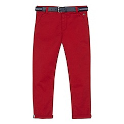J by Jasper Conran - Boys' red stretch belted slim chinos