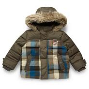 Designer boy's khaki checked jacket