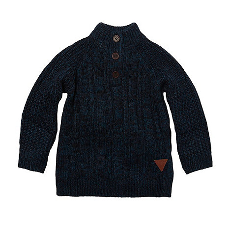 RJR.John Rocha - Boy+s navy twisted yarn funnel neck jumper