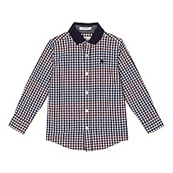 J by Jasper Conran - Boys' gingham print knitted collar shirt
