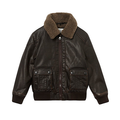 RJR.John Rocha - Boy+s brown faux leather shearling jacket
