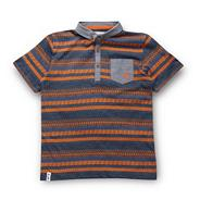 Designer boy's navy tribal polo shirt