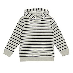 bluezoo - Boys' grey striped hooded sweater