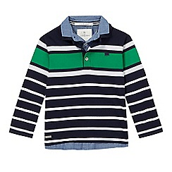 J by Jasper Conran - Boys' navy striped mock polo shirt