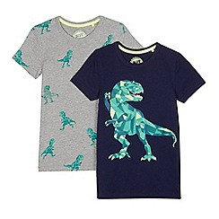 bluezoo - Pack of two boys' navy and grey dinosaur print t-shirts