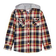 Boy's navy hooded checked shirt