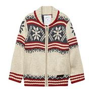 Boy's cream chunky knit fairsle cardigan