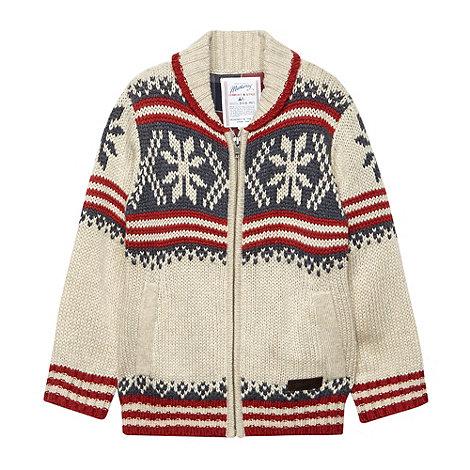 Mantaray - Boy+s cream chunky knit fairsle cardigan