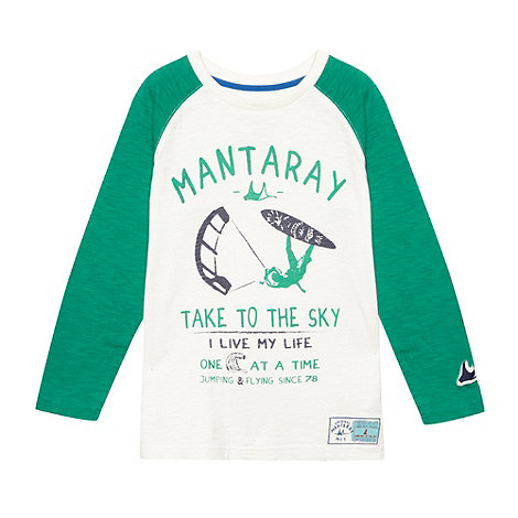 Mantaray - Boy+s green graphic slub t-shirt