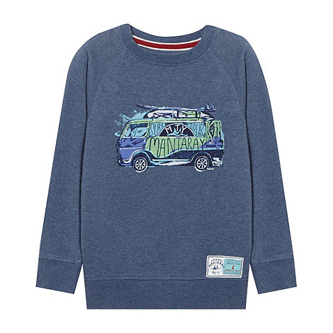 Mantaray - Boy+s blue overhead graphic sweater