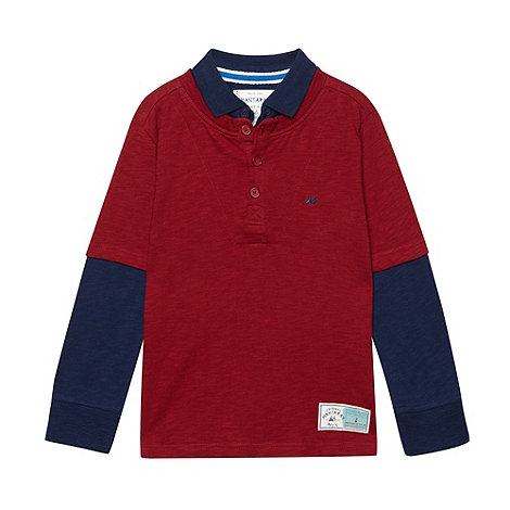 Mantaray - Boy+s red mock sleeved top