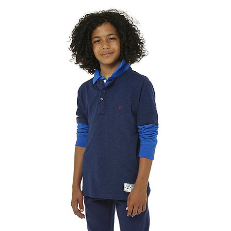 Mantaray - Boy+s blue mock sleeved polo top