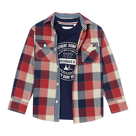 Mantaray - Boy+s red checked shirt and logo t-shirt