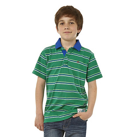 Mantaray - Boy+s green striped polo top