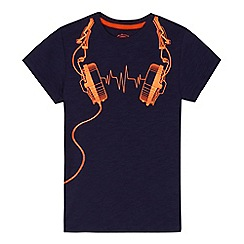 bluezoo - Boys' navy headphones print t-shirt