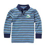 Boy's blue long sleeved striped polo