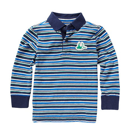 Mantaray - Boy+s blue long sleeved striped polo