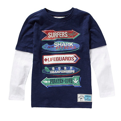 Mantaray - Boy+s blue printed mock sleeved t-shirt