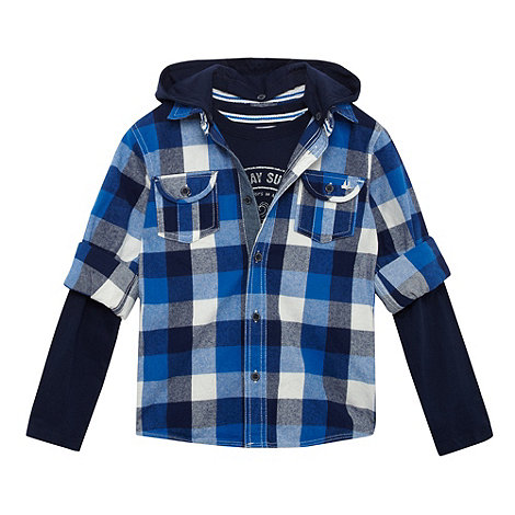 Mantaray - Boy+s blue hooded shirt and t-shirt set