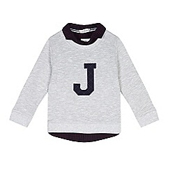 J by Jasper Conran - Boys' grey 'J' mock jumper