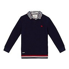 J by Jasper Conran - Boys' navy textured mock jumper